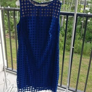 LAUREN RALPH LAUREN ROYAL BLUE lined lace dress